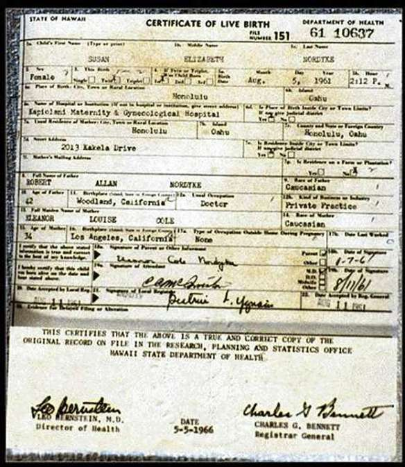 The Susan Nordyke Hawaiian birth certificate